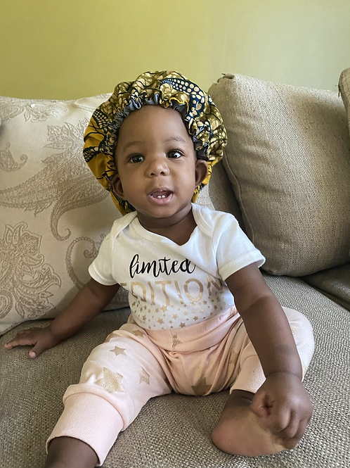 African Print Baby Bonnet Satin Lined