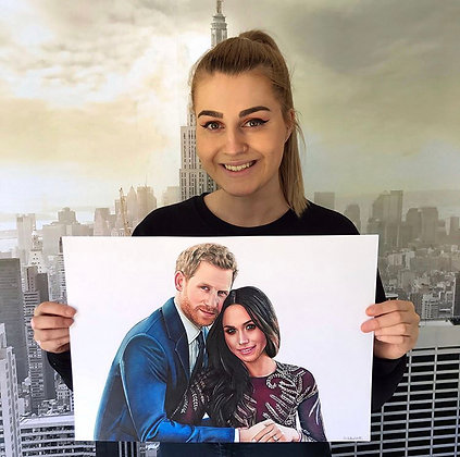 Prince Harry & Meghan (Original Drawing)