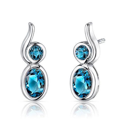 Oval London Blue Topaz Earring