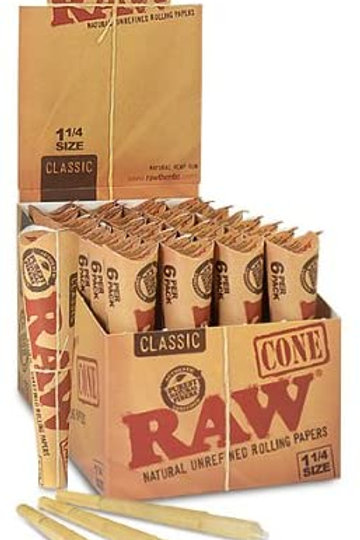 RAW Rolling Paper Cones (Pack of 6)