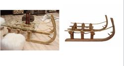 Table basse luge en vieux bois