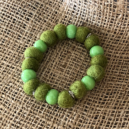 Felt and Ceramic Beaded Bracelet