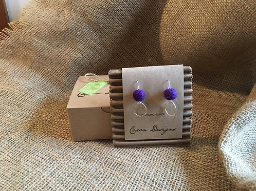 Sterling Silver Earrings with Sterling Silver Ring and Purple Felted Wool Ball