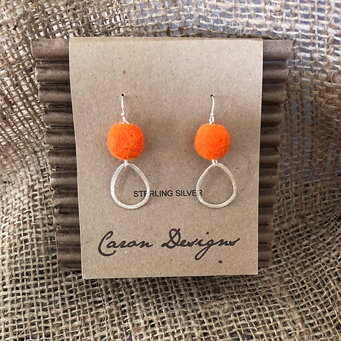 Silver with Orange Wool Accent