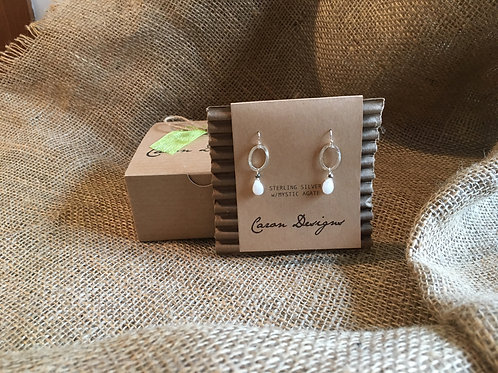 Silver Hoops with Mystic Agate Stone
