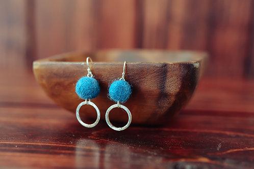 Silver Hoop with Wool Felted Ball Earrings