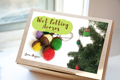 Wet Felting Acorns Craft Kit
