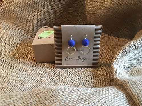 Sterling Silver Earrings with Blue Beads