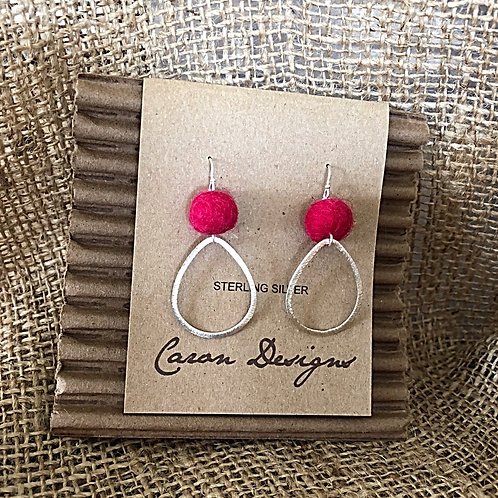 Sterling Silver Teardrop Hoops with Fuchsia Felted Ball