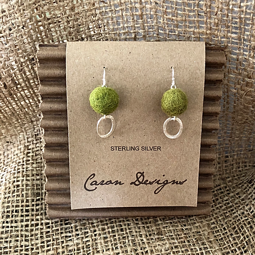 Sterling Silver Hoop Earrings with Felted Green Ball