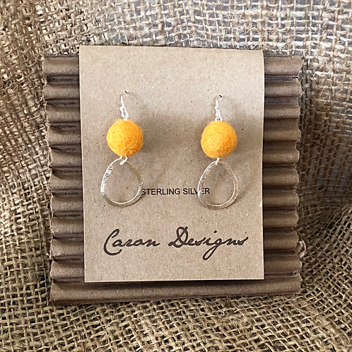 Sterling Silver Hoop Earrings with Yellow Felted Ball