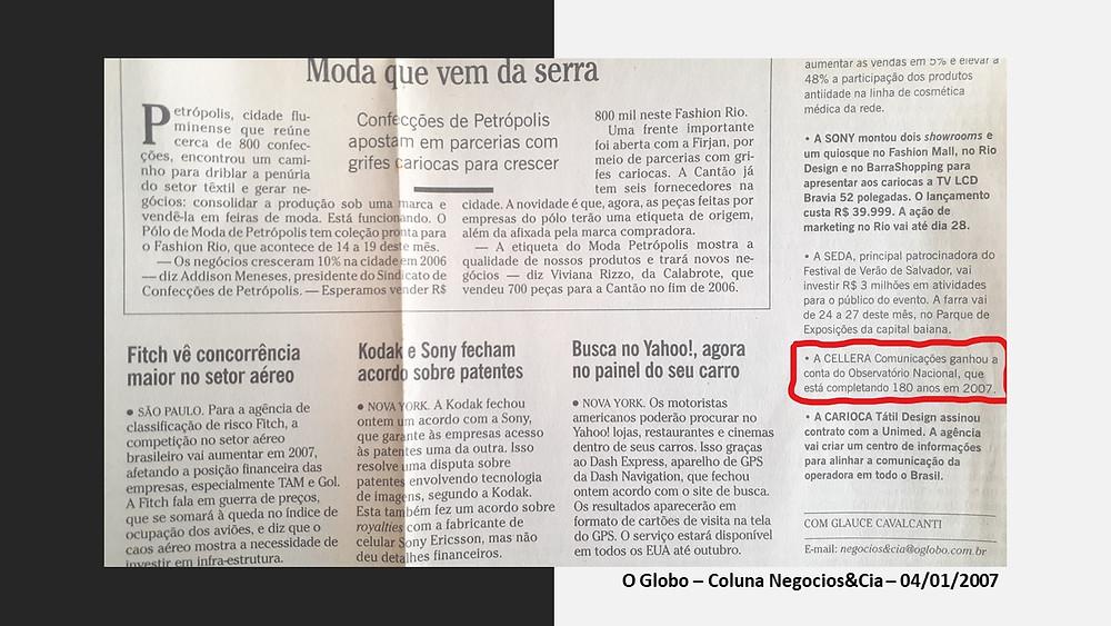 O Globo noticia contrato da Cellera com o Observatório Nacional