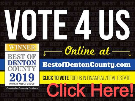 BEST OF DENTON: FINANCIAL/REAL ESTATE NOMINEE!