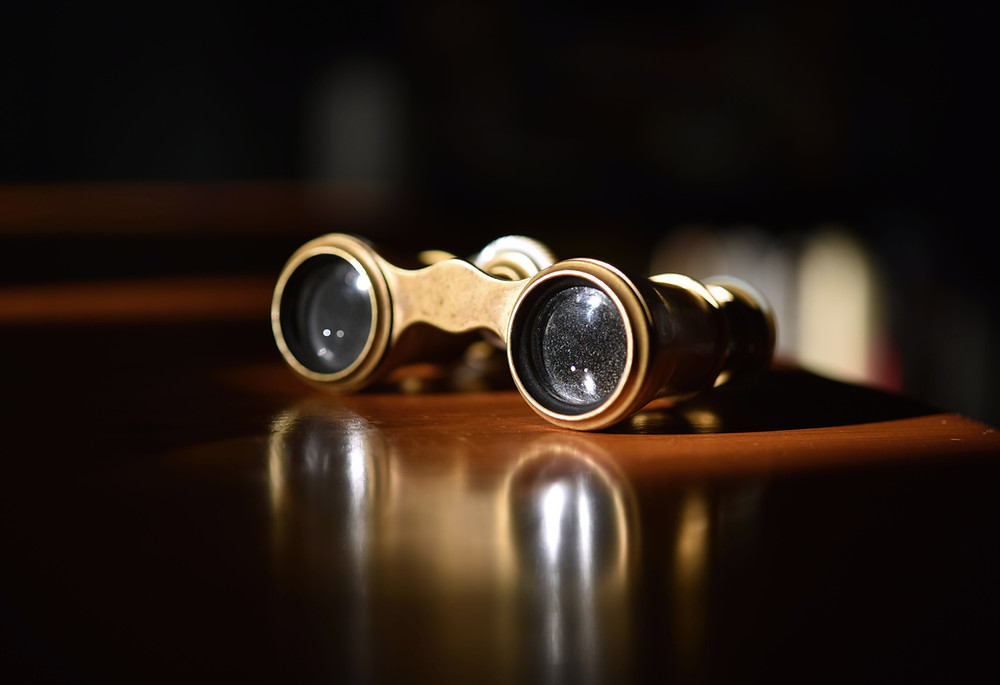 Opera glasses on a table