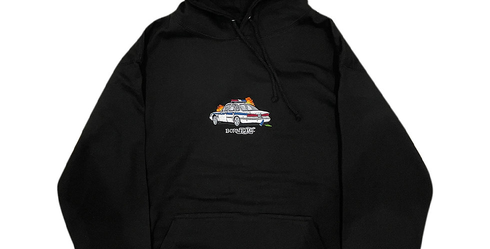 COP CAR EMBROIDERED HOODED SWEATER
