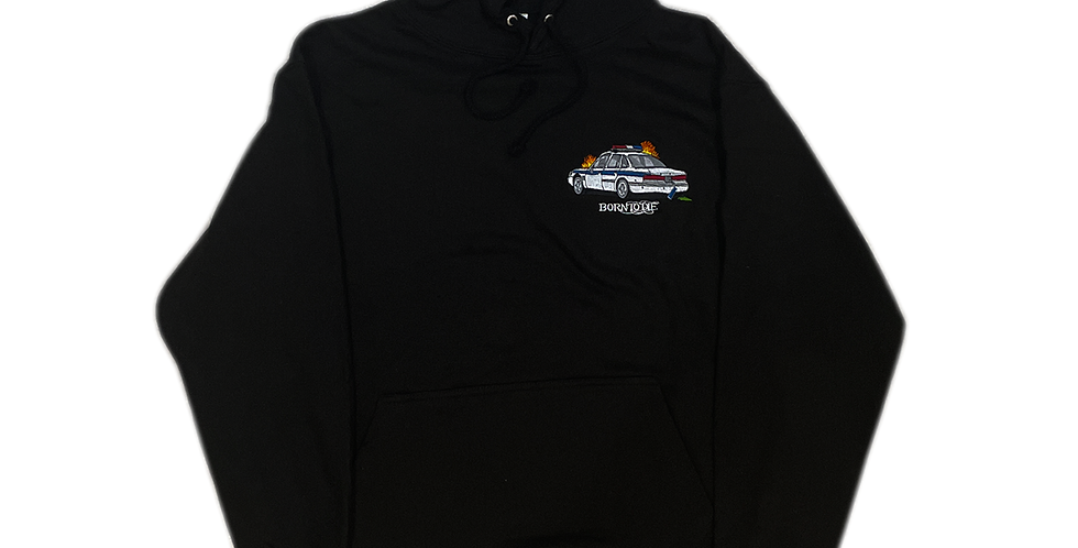 *SAMPLE SALE* COP CAR EMBROIDERED HOODED SWEATER