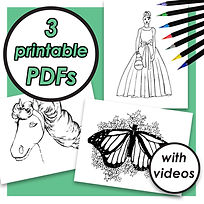 COLORING PAGE PDFS (PRINCESS, HORSE, BUTTERFLY).jpg