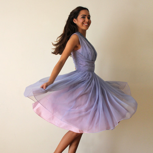 d711b6735c6 This lovely vintage halter dress features an amazing rhinestone neckline.  We love the periwinkle lavender chiffon layers