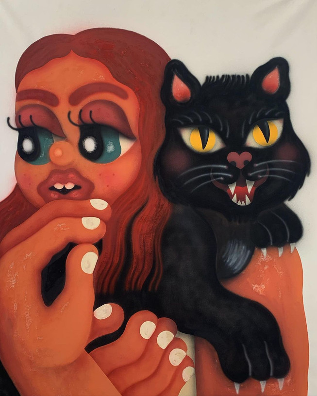 Woman and black cat, 2021