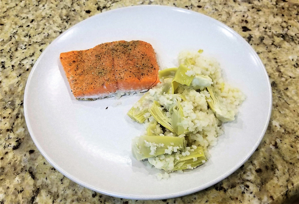 Wild Caught Salmon, Artichoke Hearts, Califlower Rice