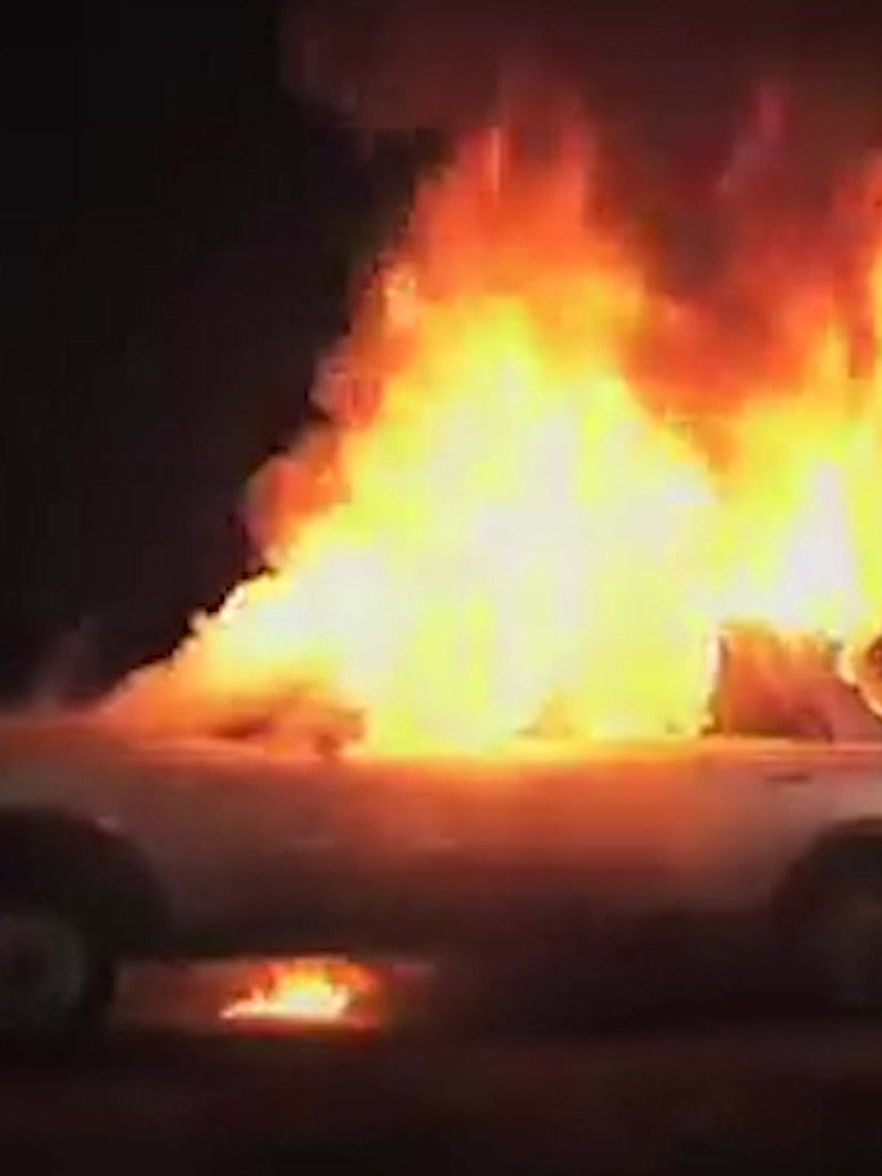 Protest-Burning Car