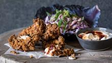 buttermilk crispy fried chicken with coleslaw