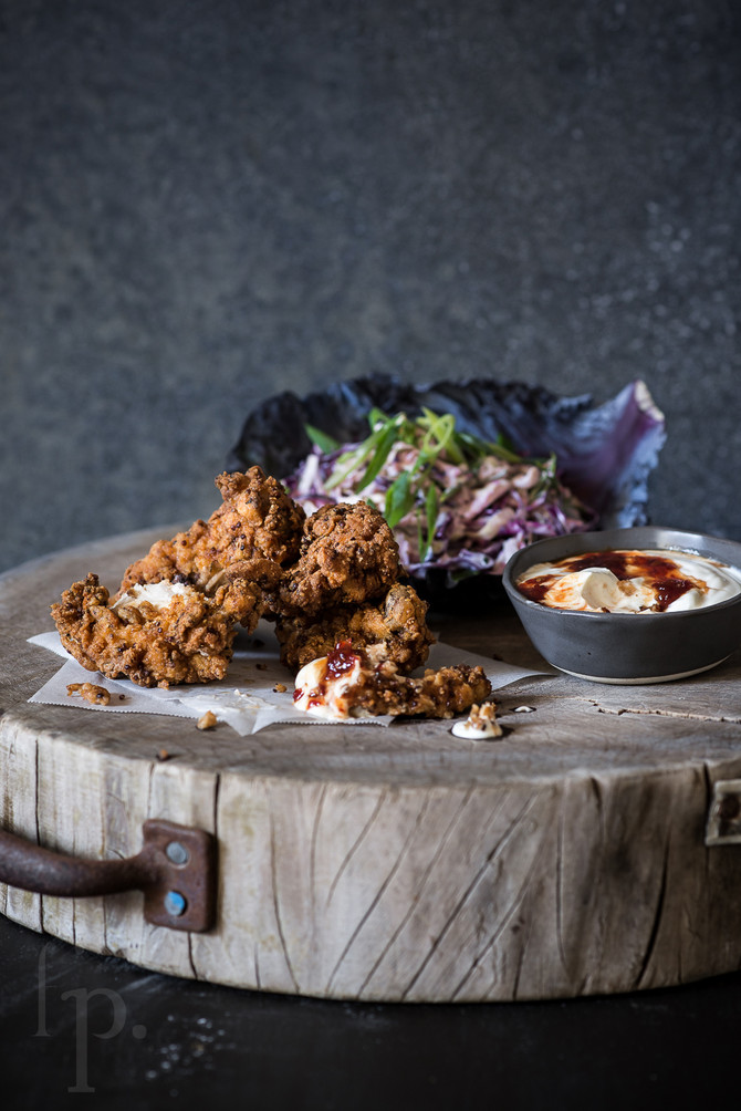 buttermilk crispy fried chicken with coleslaw