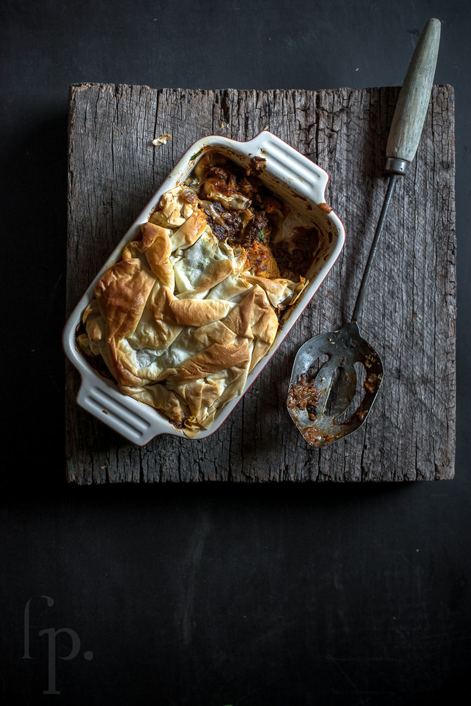 braised beef & roasted pumpkin filo pie