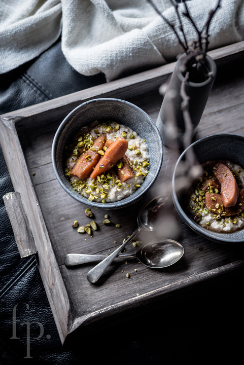 porridge with poached quince and pistachios