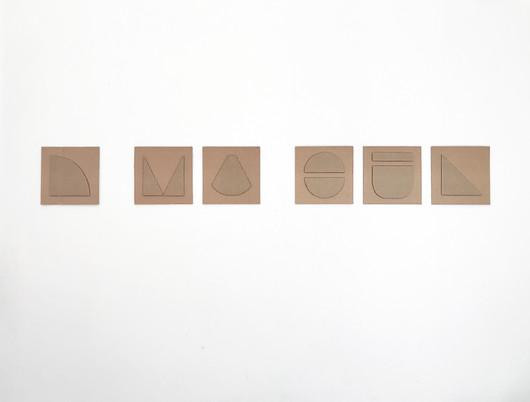 "No.7, 2020, Cardboard cutouts on cardboard, 5.7"" X 5.7"" (each of 6)"