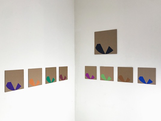 """No.14, 2020, Acrylic and paint marker on Cardboard, 12"""" X 12"""" (big)  7.1"""" X 7.1"""" (each of 8)"""
