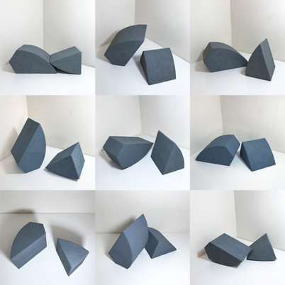 Nine dimensions of No.18, 2020, Acrylic on cardboard papier-mâché, Dimensions variable