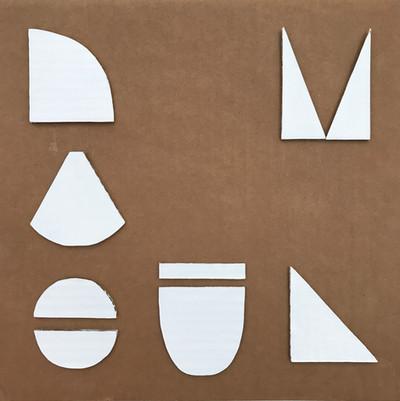 "No.5, 2020, Acrylic and cardboard cutouts on cardboard, 11"" X 11"""