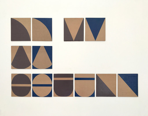 """No.8, 2020, Paint marker on cardboard, 5.7"""" X 5.1"""" (each of 12)"""