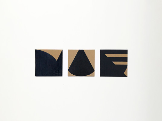 "No.12, 2020, Acrylic on cardboard, 7.1"" X 7.1"" (each of 3)"