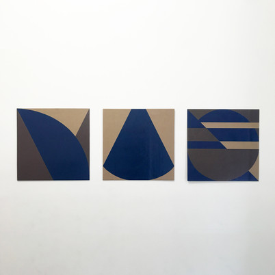 """No.11, 2020, Paint marker on cardboard, 15"""" X 15"""" (each of 3)"""