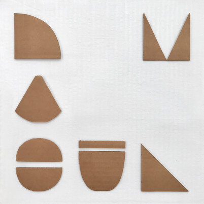 "No.4, 2020, Acrylic and cardboard cutouts on cardboard, 11.5"" X 11.5"""