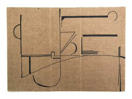 "Drawing, 2020, Marker on cardboard, 11.6"" X 16.3"""