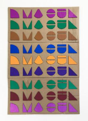 "No.13, 2020, Paint marker cardboard cutouts on cardboard, 22.5"" X 33.5"""