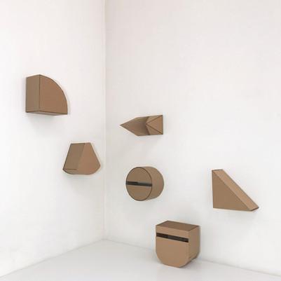 """No.10, 2020, Cardboard, 5.3"""" X 5.3"""" X 3.3"""" (each of 6)"""