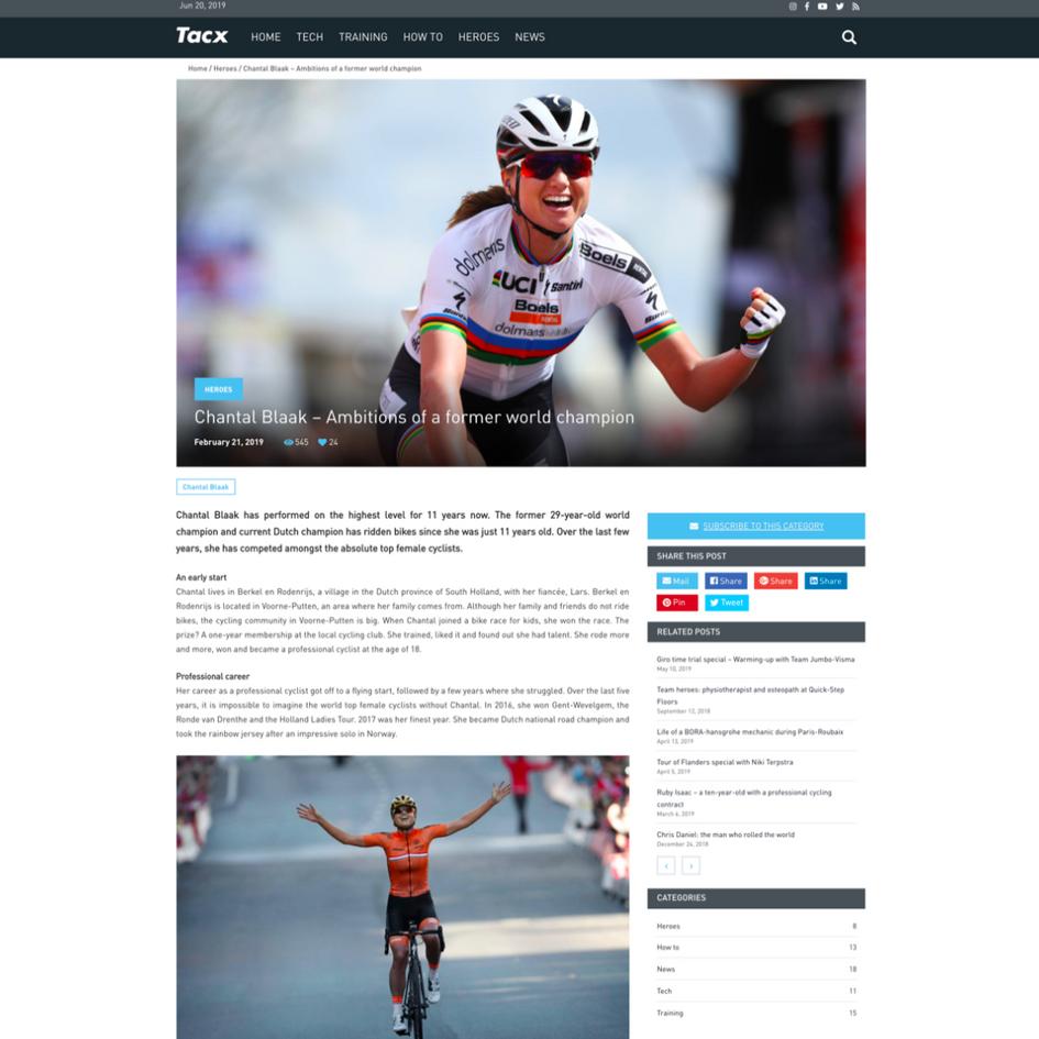 Voor Tacx schreven we artikelen voor blog.tacx.com. Deze konden gaan over Tacx producten, inspirerende content om fietsers te motiveren indoor te trainen en interviews met topsporters.