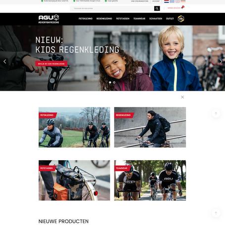 Het Nederlandse bedrijf AGU is bekend van de regenpakken, fietstassen en de uitgebreide collectie wielerkleding. Kopwerk was betrokken bij het ontwikkelen van de B2C webshop, waarop voor het eerst fietskleding, regenkleding en fietstassen worden verkocht direct aan de consument, zonder tussenkomst van een lokale dealer.