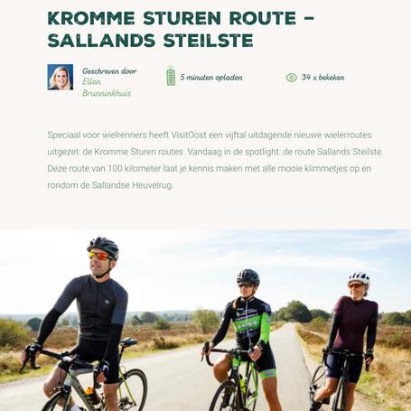 Voor MarketingOost schreven we artikelen over vijf >100 kilometer fietsroutes door de Provincie Overijssel.