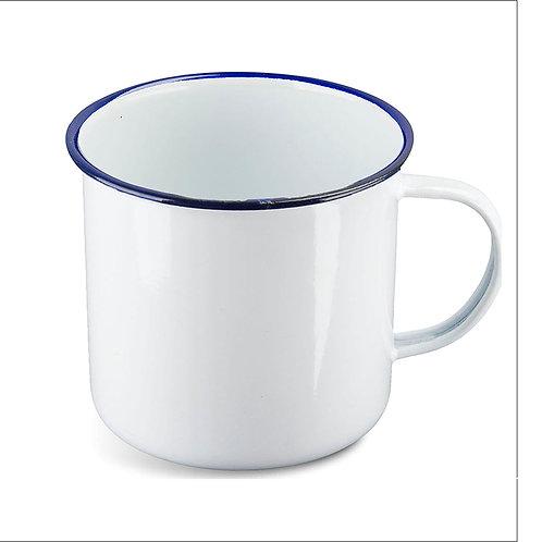 Highlander Vintage-style Enamel White Mug - 560ml