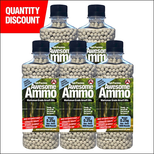 5 x 0.25g Awesome Airsoft BBs - x3000 High Precision (£5.25 each)