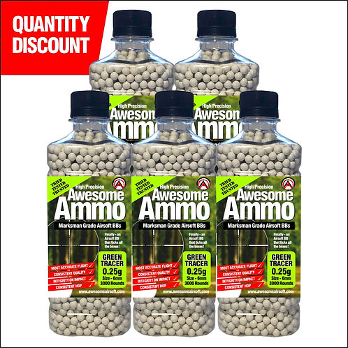 5 x 0.25g Green Tracer Awesome Airsoft BBs - x3000 High Precision (£17.75 each)