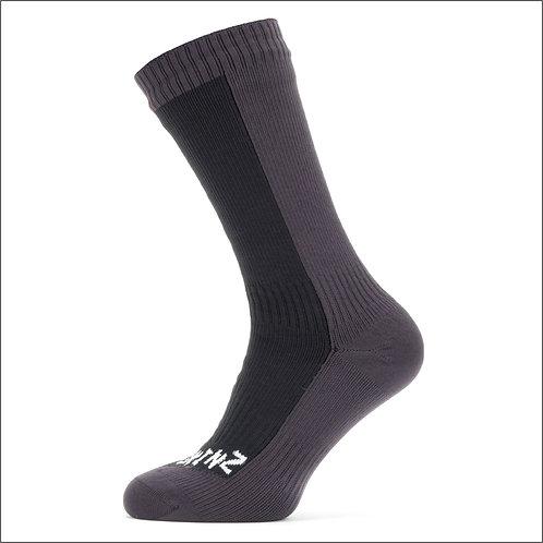 Sealskinz Waterproof Cold Weather Mid Length Sock - Black / Grey