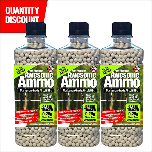 3 x 0.25g Green Tracer Awesome Airsoft BBs - x3000 High Precision (£18.25 each)