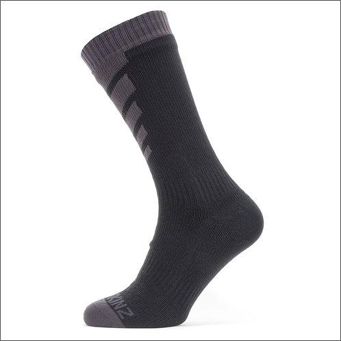 Sealskinz Waterproof Warm Weather Mid Length Sock - Black / Grey