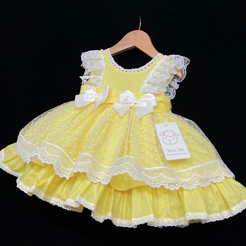 Wee Me Lemon/white lace and bow  dropwaist dress 0-36 Months